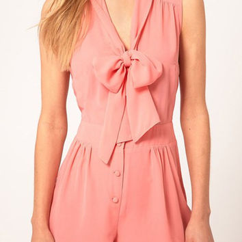 Pink Short Sleeve V-Neck Romper with Bow