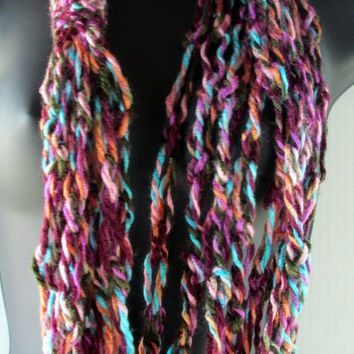 Crochet Chain Summer Scarf, Infinity Scarf, Fiber Necklace, Bohemian Scarf Necklace