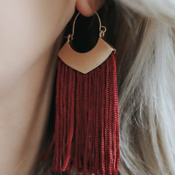 SPEAK EASY EARRINGS - BURGUNDY