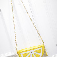 Faux Leather Lemon Chain Bag