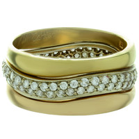 1990s Cartier Love Me Diamond Tri-Gold Stackable Ring