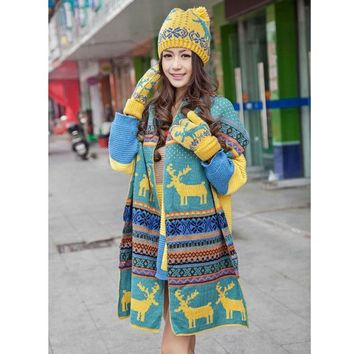 Womens Knitted Cap Hat Scarf Warm Wrap Set Christmas Snowflake Deer Ethnic -Y107