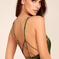 Crushing on You Olive Green Crushed Velvet Bodysuit