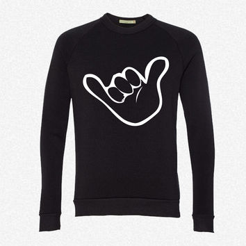 hang loose fleece crewneck sweatshirt