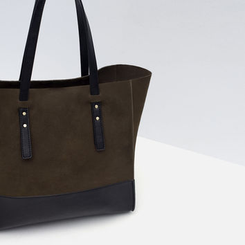 COMBINED LEATHER TOTE