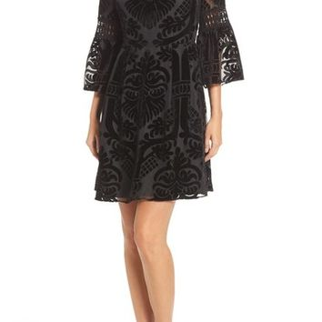 Eliza J Burnout Velvet Fit & Flare Dress (Regular & Petite) | Nordstrom