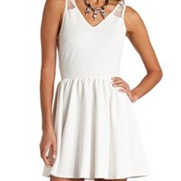 Ribbed Lace Skater Dress by Charlotte Russe - Ivory