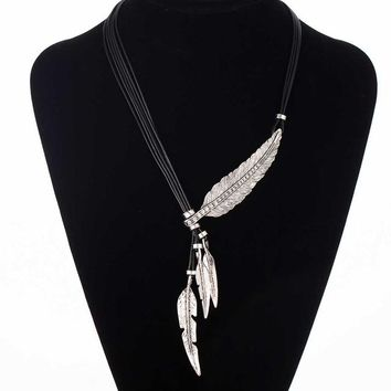 Bohemian Style Black Rope Chain Leaf Feather Pattern Pendant Necklace For Women Fine Jewelry Collares Statement Necklace