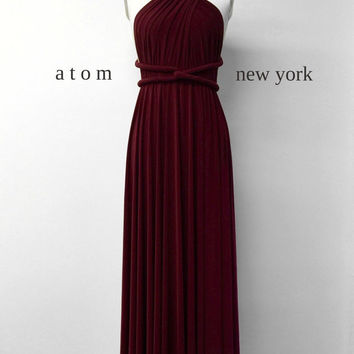 Burgundy Wine Red LONG Floor Length Ball Gown Infinity Dress Convertible Formal Multiway Wrap Dress Bridesmaid Dress Evening Dress Party