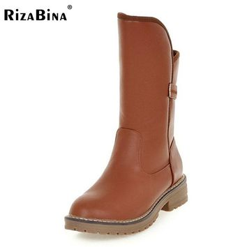 RizaBina Size 34-43 Women Half Short Snow Boots Flats Boots Warm Fur Shoes In Cold Winter Botas Mid Calf Boot For Women Footwear
