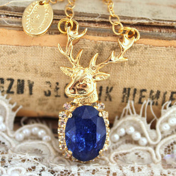 Boho chic necklace Deer Antler Rhinestone gold statement Sapphire white - 14k gold filled necklace with real gemstone.
