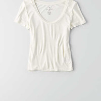 AEO Fitted Crop T-Shirt, Chalk