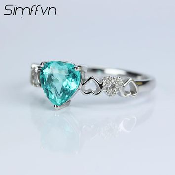 Simffvn Halo 18K White Gold Round Cut 0.94 CT Blue Heart Shape Apatite Pendant  For Women Engagemen Ring