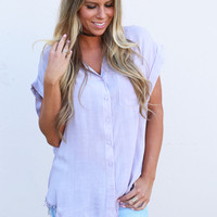 Lovely In Lilac Button Down Top
