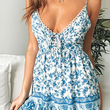 From Me To You Floral Pattern Sleeveless Spaghetti Strap V Neck Lace Up Smocked Flare A Line Casual Mini Dress - 2 Colors Available