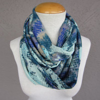 Teal and Blue Snakeskin Infinity Scarf - Snakeskin Print Scarf - Jersey Knit Infinity Scarf