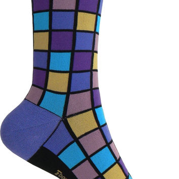 Mosaic Crew Socks in Purple