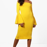 Rosey Flared Sleeve Midi Dress | Boohoo