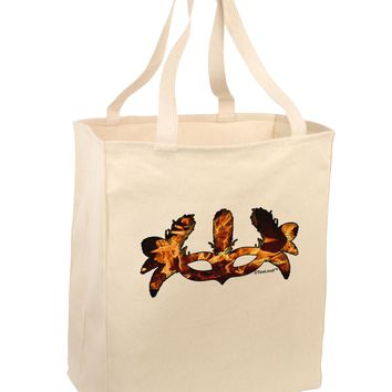 Fire Masquerade Mask Large Grocery Tote Bag by TooLoud