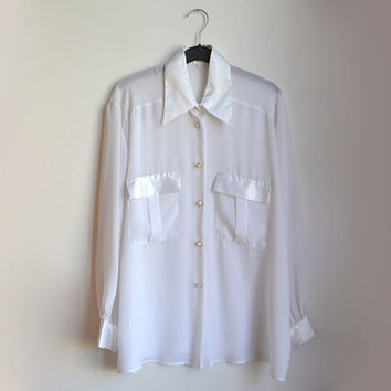 White Sheer Chiffon Shirt Womens Button Up Blouse Long Sleeve Large L XL Vintage 90s 1990s