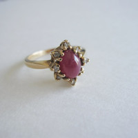 14k Antique Estate Vintage Natural Ruby Red Gold and Diamond Edwardian Georgian style Birthstone Engagement Something Old 14KP Ring