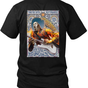 Jimi Hendrix And Pink Floyd Concert Poster 2 Sided Black Mens T Shirt