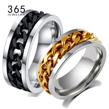 Never Fade Stainless Steel Mens Wedding Band with Gold Titanium and Black Chain Spinner