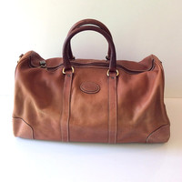 Vintage Bally Leather Brown Duffle Travel Bag