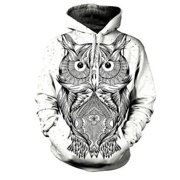 Owl Artwork Hoodie, Men's Fashion Autumn Winter Pullover Hoody Top