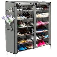 hotstype Portable 6 Layer 12 Grid Shoe Rack Shelf Storage Closet Organizer Cabinet