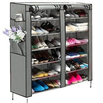 WOOKRAYS Portable 6 Layer 12 Grid Shoe Rack Shelf Storage Closet Organizer Cabinet