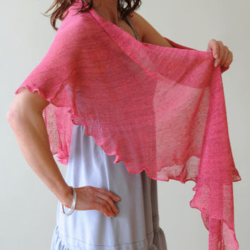 Pink knitted linen shawl, Handmade from Natural Eco-friendly Yarn