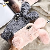 KISSCASE Rabbit Fur Case For iPhone XS X 8 7 6S 6 Cute Fluffy Phone Cases For iPhone 6 6S 7 8 Plus XS Max XR 5S 5C SE 5 10 Cover