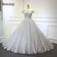 New wedding dress lace flowers with off the shoulder straps