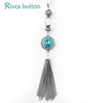 Rivca Snap Button Jewelry Luxury Shining Charm 18mm Snap BUtton Necklaces & Pendants Fashion Crystal Chain Necklace P01091