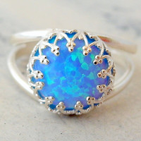 Bright blue mint opal ring, Opal ring, Mint opal ring, Sterling Silver ring, Gemstone ring, October birthstone ring, Silver or gold
