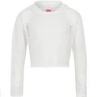 River Island Girls white mesh cropped hoodie