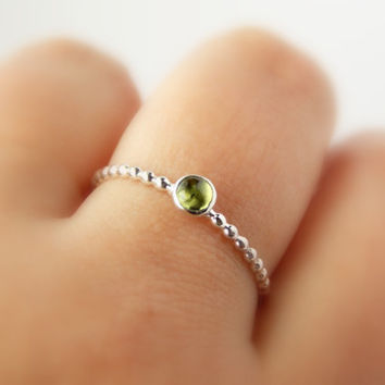 Dainty Beaded Cab Ring: stackable birthstone ring, sterling silver ring, birthstone ring, simple ring, dainty ring, dotted ring, stone ring