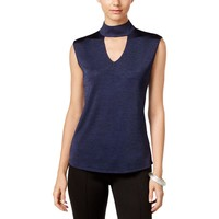 INC Womens Shimmer Keyhole Casual Top