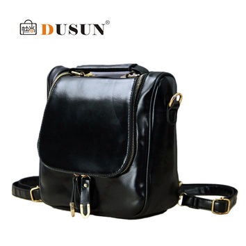 DUSUN New arrive designer women leather backpack fashion school bag dual zipper women travel bag cute shoulder bag tote mochila