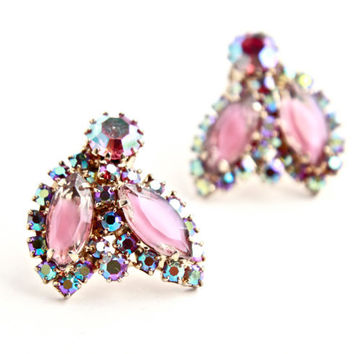 Vintage Weiss Pink Rhinestone Clip On Earrings -  Gold Tone Prong Set Costume Jewelry / Aurora Borealis Sparkle