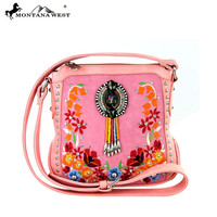 * Embroidered Collection Messsenger Bag In Pink