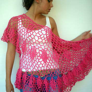Angel Fashion Top Capelet   Pink Cotton Cape Woman Hand Crocheted Summer Top NEW