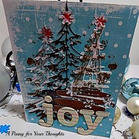 Tree Laden Joy Handmade Christmas Card . Ready to Ship
