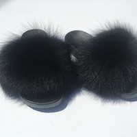 Fox fur Slides Black