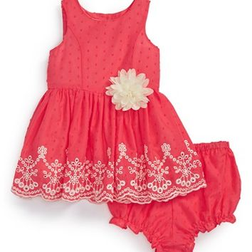 Infant Girl's Pippa & Julie Embroidered Border Sleeveless Dress