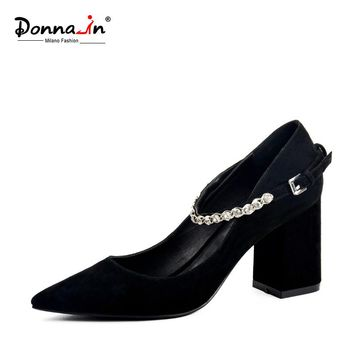 DONNA-IN 2017 NEW STYLE POINTED TOE PUMPS THICK HEEL NATURAL KID SUEDE WOMEN SHOES DIAMOND STRAP HIGH HEEL LEATHER LADIES SHOES