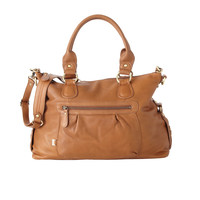 Tan Leather Slouch Tote Diaper Bag