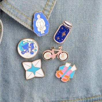 Trendy 1 pcs cartoon bicycle wish bottle metal brooch button pins denim jacket pin jewelry decoration badge for clothes lapel pins AT_94_13