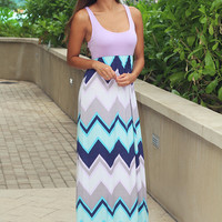 Lavender Chevron Maxi Dress